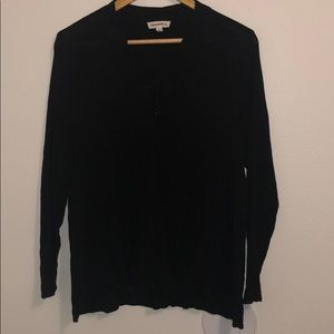 Black drape top with faux collar